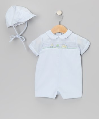 Blue Bunny Train Romper - Infant