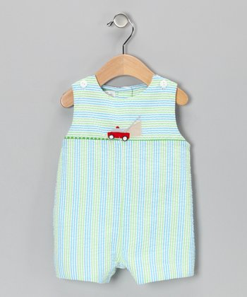 Turquoise Stripe Mower Seersucker Shortalls - Infant & Toddler