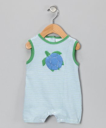 Green Stripe Turtle Romper - Infant