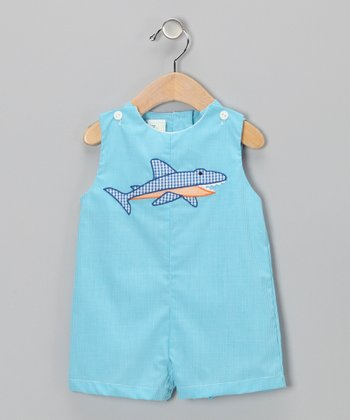 Turquoise Shark Shortalls - Infant