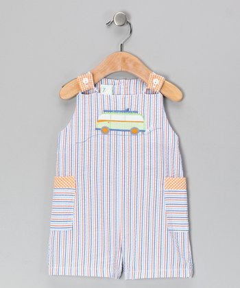Blue Stripe Bus Seersucker Shortalls - Toddler