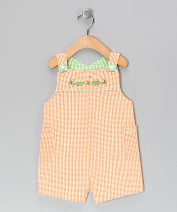 Orange Grasshopper Seersucker Shortalls - Infant