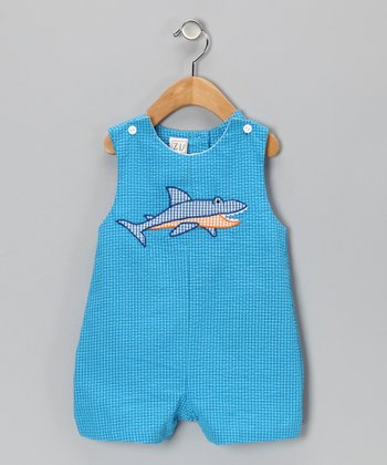 Blue Shark Seersucker Shortalls - Infant