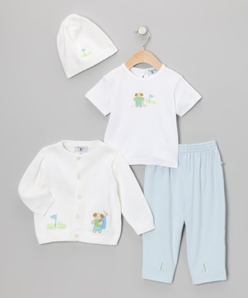 Blue & White Golf Cardigan Set - Infant