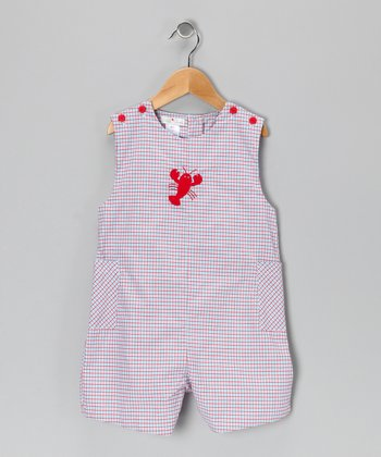 Red Plaid Lobster Shortalls - Toddler