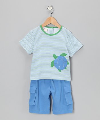 Green Stripe Turtle Tee & Blue Cargo Shorts - Infant