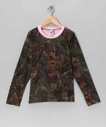 Pink & Mixed Pine Camo Long-Sleeve Tee - Girls