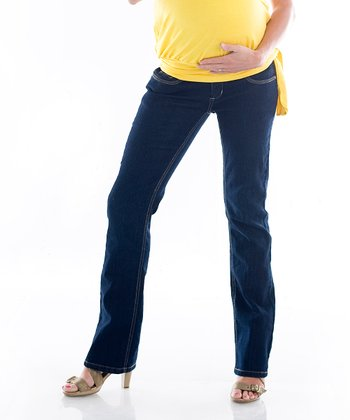 Dark-Wash Maternity Bootcut Jeans