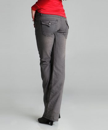Gray V-Flap Maternity Jeans