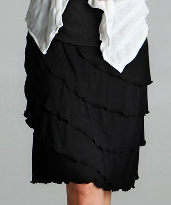 Black Ruffle Maternity Skirt