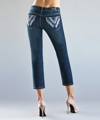 Dark Blue Wash Luxembourg Skinny Cropped Pants