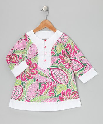 Pink & White Tropical Paisley Tunic - Toddler & Girls