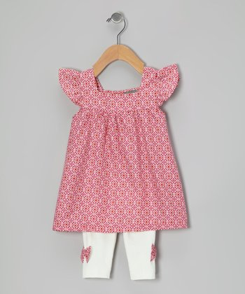 Magenta Tile Tunic & White Bow Leggings - Infant