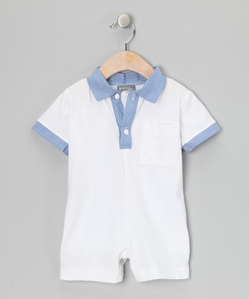 White & Blue Pinstripe Polo Romper - Infant