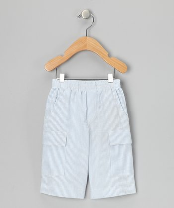 Blue Stripe Seersucker Cargo Shorts - Infant