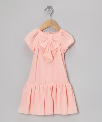 Peach Bow Chiffon Dress - Toddler & Girls
