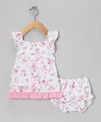 Pink Rose Ruffle Dress & Diaper Cover - Infant