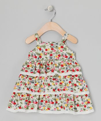 White Berry Floral Tiered Dress - Infant