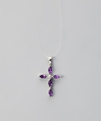 Amethyst & Sterling Silver Diamond Cross Pendant