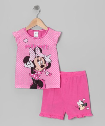 Pink Polka Dot 'Minnie' Pajama Set - Infant