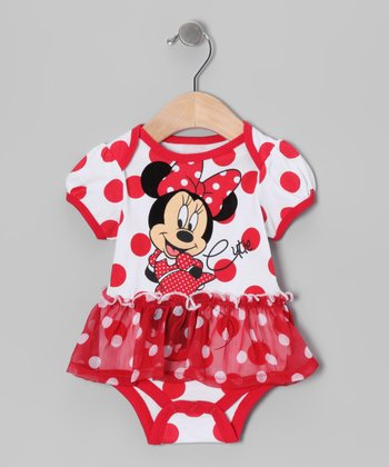 Red & White Polka Dot Minnie Skirted Bodysuit - Infant