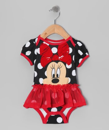 Black & Red Polka Dot Minnie Skirted Bodysuit - Infant