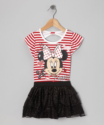 Red & Black Stripe Minnie Dress - Toddler