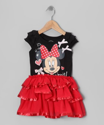 Red & Black Minnie Bow Ruffle Dress - Toddler