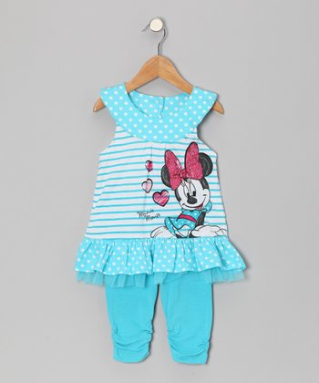 Blue Polka Dot Yoke Tunic & Leggings - Toddler