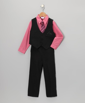 Black & Rose Pinstripe Vest Set - Toddler & Boys