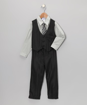 Black & Gray Pinstripe Vest Set - Toddler & Boys
