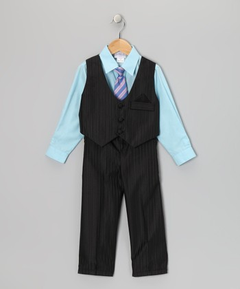 Black & Aqua Pinstripe Vest Set - Toddler & Boys