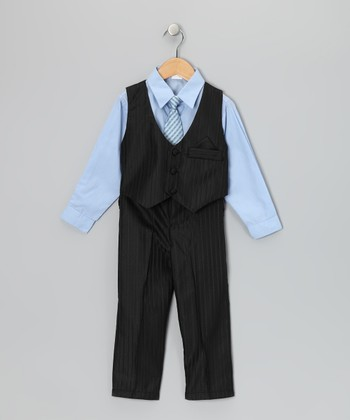Blue & Black Pinstripe Vest Set - Toddler