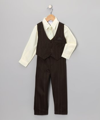 Brown & Yellow Pinstripe Vest Set - Toddler & Boys