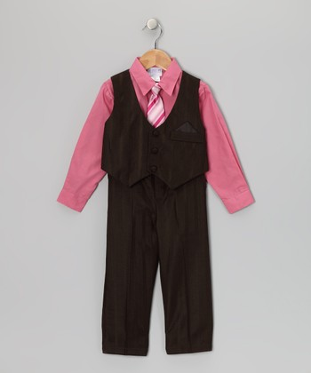 Brown & Rose Pinstripe Vest Set - Toddler & Boys