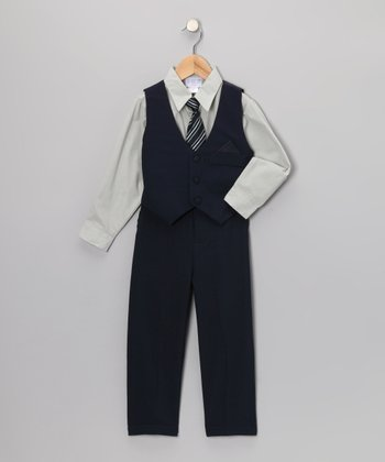 Navy & Gray Vest Set - Toddler & Boys