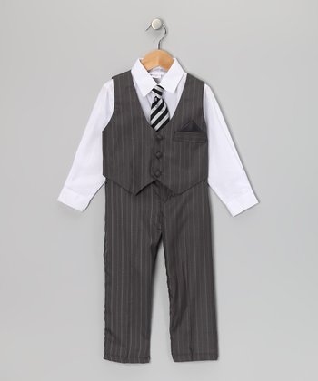 White & Gray Pinstripe Vest Set - Toddler