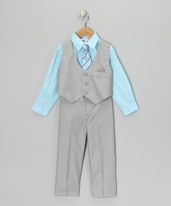 Aqua & Gray Vest Set - Toddler