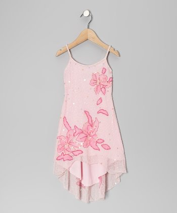 Baby Pink Tropical Beaded Dress - Girls
