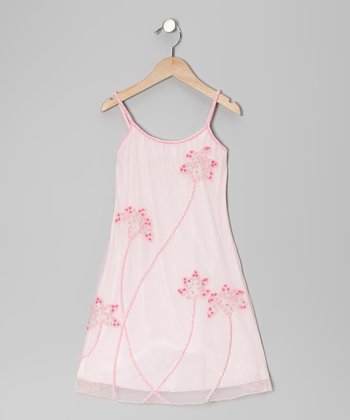 Baby Pink Garden Beaded Dress - Toddler & Girls
