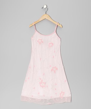 Baby Pink Floral Beaded Dress - Girls
