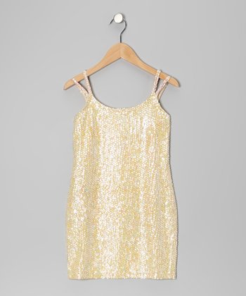 Cream Sequin Dress - Girls