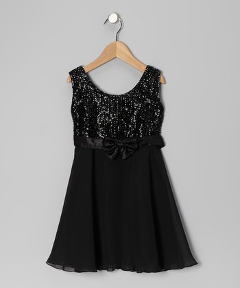 Black Sequin Chiffon Dress - Toddler & Girls