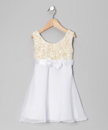 White Sequin Chiffon Dress - Toddler & Girls