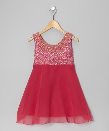 Fuchsia Grecian Chiffon Dress - Girls