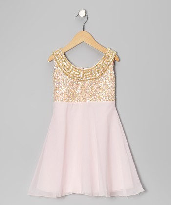 Baby Pink Grecian Chiffon Dress - Toddler & Girls