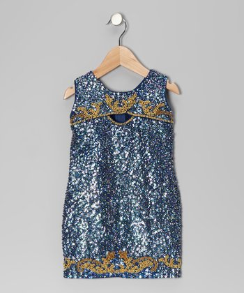 Midnight Blue Sequin Dress - Toddler & Girls