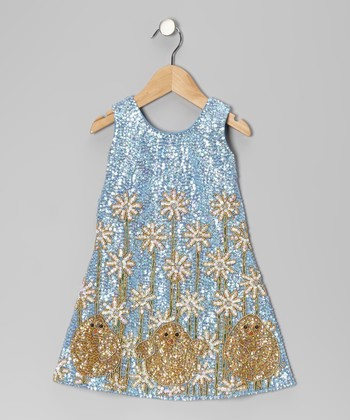 Baby Blue Sequin Chick Dress - Girls