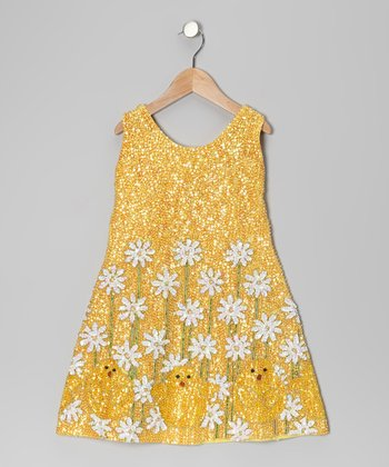 Yellow Sequin Chick Dress - Girls