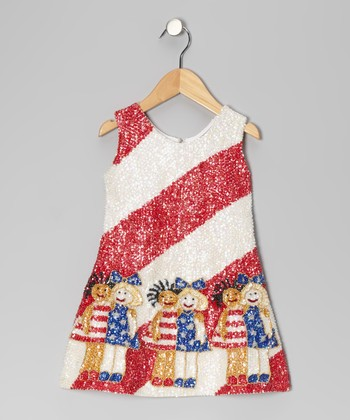 Red Sequin Stripe Girlfriend Dress - Toddler